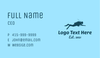 Diver Silhouette Business Card