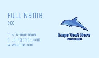 Blue Diving Dolphin Business Card