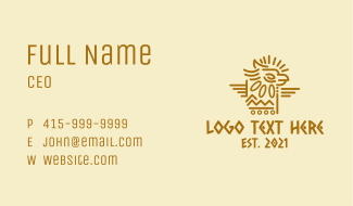Tribal Aztec Eagle Business Card