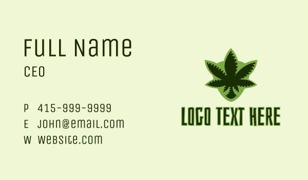 cannabis farm - Tropical Marijuana Shield Business card horizontal design