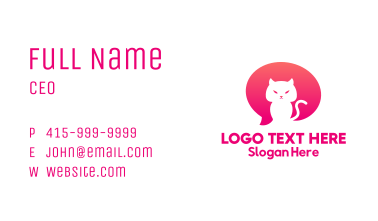 Pink Cat Chat Business Card