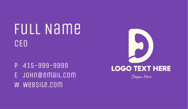 Telephone Letter D  Business Card