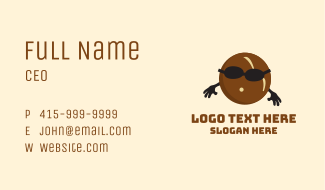 Brown Coconut Mascot Business Card