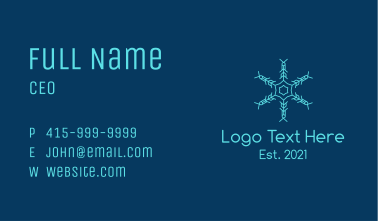 Blue Snowflake Pattern Business Card