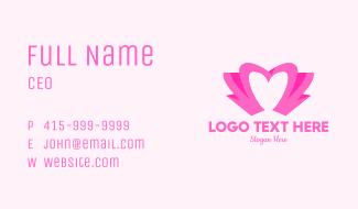 Pink Flower Bud Heart  Business Card