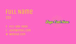 Cartoon Script Wordmark Business Card