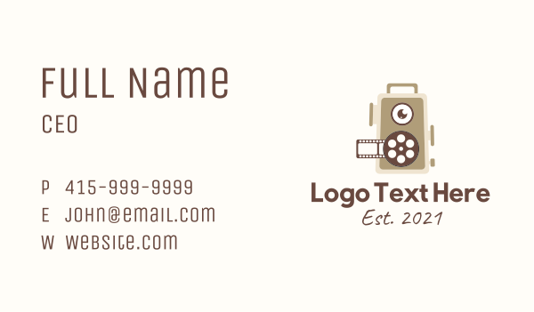 action - Motion Picture Reel  Business card horizontal design