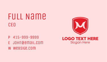 Red Shield Letter M Business Card