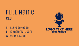 Simple Basketball Trophy Business Card