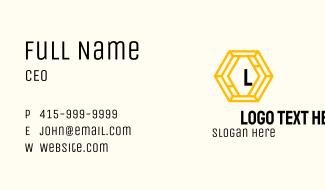 Yellow Hexagon Business Business Card