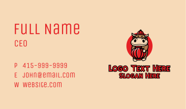 Chinese Ox Mascot Business Card