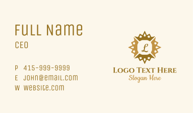 Gold Sun Crown Letter Business Card