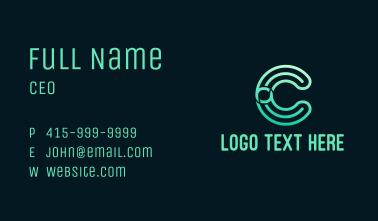 Gradient Lines Letter C Business Card