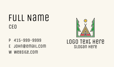 Forest Tipi Tent  Business Card