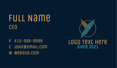 Linear Letter Y Badge Business Card