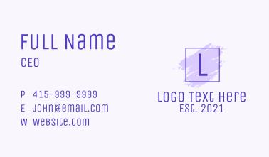 Purple Square Brush Letter Business Card