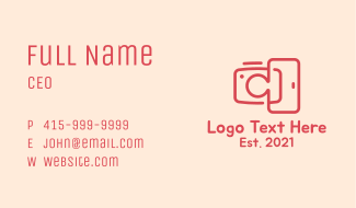 Red Mobile Camera Business Card