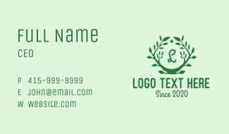 Plant Wreath Lettermark Business Card