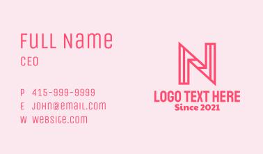 Pink Outline Letter N Business Card