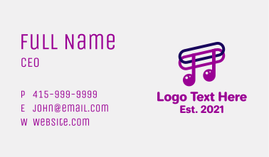 Musical Note Paper Clip Business Card