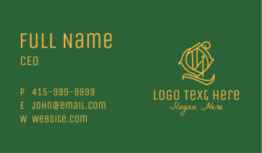 Detailed Circle Letter Q Business Card