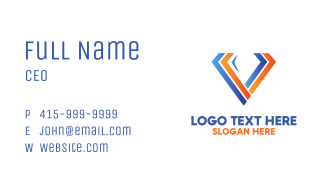 Diamond Gem Letter V Business Card