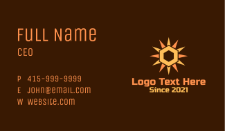 Hexagon Solar Sun Business Card