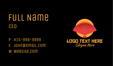 Traditional Asian Hand Fan Business Card
