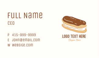 Chocolate Eclair Sweet Pastry Business Card