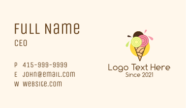 Colorful Ice Cream Shop Business Card