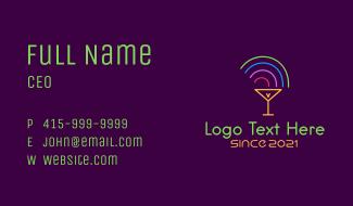 Rainbow Cocktail Glass Business Card