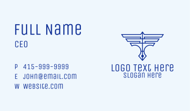 Wings Pen Outline Business Card