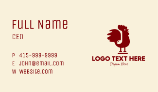 Red Rooster Note Business Card