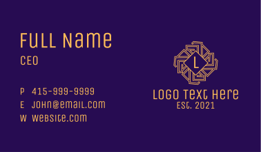Golden Intricate Letter Business Card