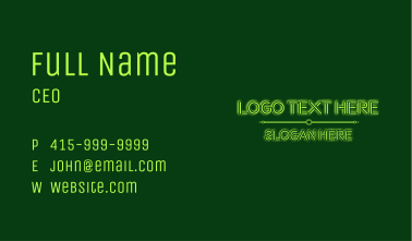 Green Glowing Wordmark Business Card