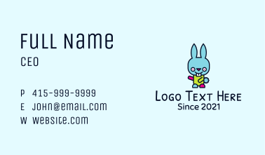 Colorful Bunny Mascot Business Card