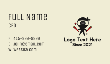 Ninja Learning Mascot  Business Card