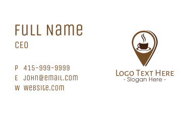 Coffee Location Pin Business Card