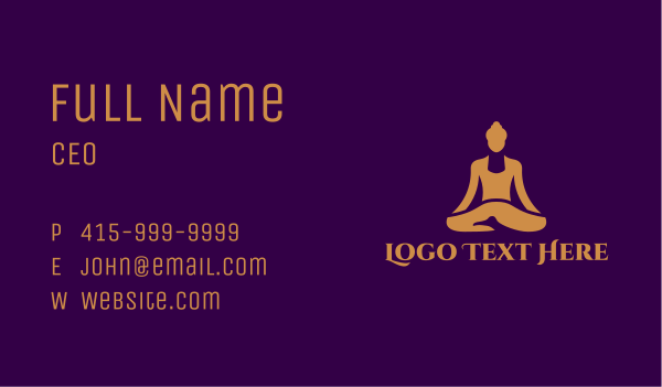 yogi - Gold Wellness Buddha Spa  Business card horizontal design