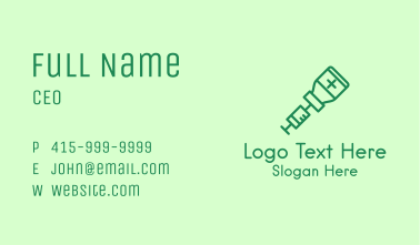 Green Vaccine Injection Business Card