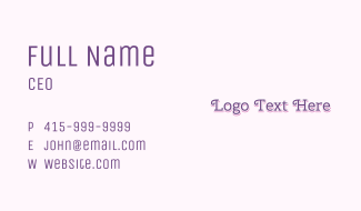 Purple & Curly Business Card