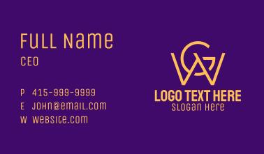 Golden W & G Monogram Business Card