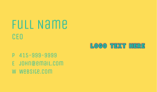 Preschool Nursery Wordmark Business Card