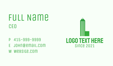 Green Pencil Letter L Business Card