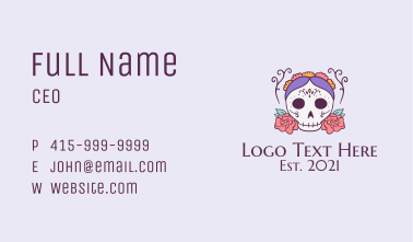 Festive Lady Skull Business Card