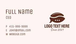 Coffee Bean Chat Business Card