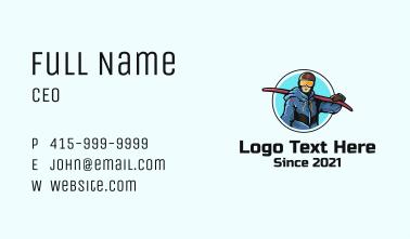 Sledding Man Mascot Business Card