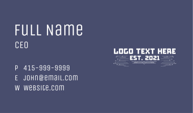 Classic Video Game Wordmark Business Card