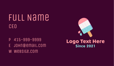 Multicolor Ice Cream Popsicle Business Card