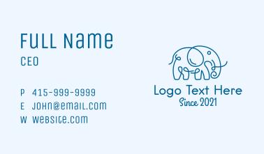 Blue Curly Elephant  Business Card